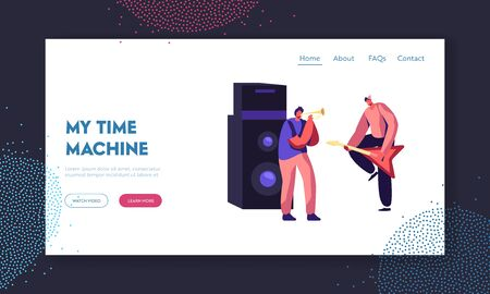 Rock Band Performing Musical Concert on Stage. Electric Guitarist and Trumpeter near Huge Dynamic, Artists Playing Music Show Website Landing Page, Web Page. Cartoon Flat Vector Illustration, Banner Illustration