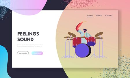 Rock Musician Performing Show on Stage. Bearded Hipster Drummer in Rocking Outfit Playing Rhythmic Music on Concert. Man Artist Website Landing Page, Web Page. Cartoon Flat Vector Illustration, Banner