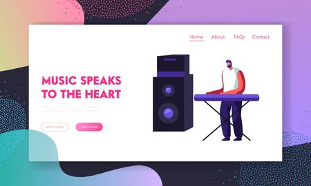 Musician Performing on Stage Playing Electric Piano or Synthesizer with Huge Dynamic. Man Artist Playing Musical Show Concert Website Landing Page, Web Page. Cartoon Flat Vector Illustration, Banner