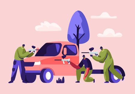 Batalla dinámica de paintball. Los jugadores se sientan detrás del coche en la máscara con la pistola marcadora que dispara al equipo contrario en uniforme protector, pasatiempo al aire libre, competición deportiva, ilustración vectorial plana de dibujos animados de ocio