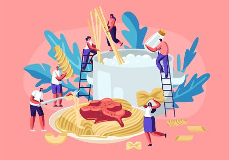 Male and Female Characters Cooking Pasta, Putting Spaghetti and Dry Macaroni of Various Kinds, Fusilli, Conchiglio, Rigatoni, Farfalle, in Huge Pan with Boiling Water Cartoon Flat Vector Illustration Illustration