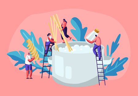 Male and Female Tiny Characters Cooking Pasta, Putting Spaghetti and Dry Macaroni in Huge Pan with Boiling Water Standing on Ladders, Tasty Food Preparing Process, Cartoon Flat Vector Illustration