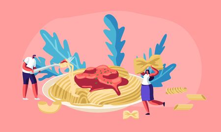 Male and Female Characters Eating Spaghetti Pasta with Tasty Sauce from Huge Plate, with Dry Macaroni of Various Kinds around. Italian Cuisine, Healthy Food Menu, Cartoon Flat Vector Illustration 向量圖像