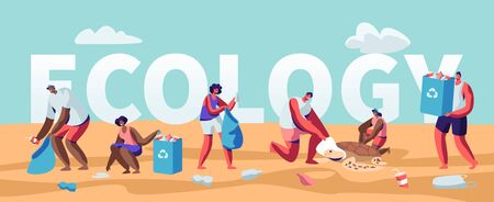 Ecology Protection Concept, People Collecting Trash on Beach. Pollution of Seaside with Garbage. Volunteers Clean Up Wastes on Coast Poster, Banner, Flyer, Brochure. Cartoon Flat Vector Illustration