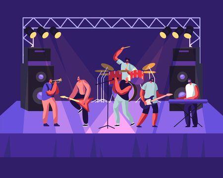 Rock Band actuando en el escenario. Concierto de guitarristas eléctricos, baterista, cantante, trompetista. Hombres artistas en traje de mecedora tocando instrumentos musicales, espectáculo. Ilustración de Vector plano de dibujos animados