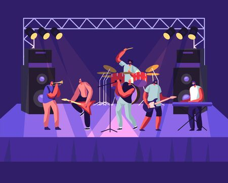 Zespół rockowy występujący na scenie. Koncert muzyczny gitarzystów elektrycznych, perkusista, wokalista, trębacz. Artyści mężczyźni w stroju na biegunach, grający na instrumentach muzycznych, pokaz. Ilustracja kreskówka płaskie wektor