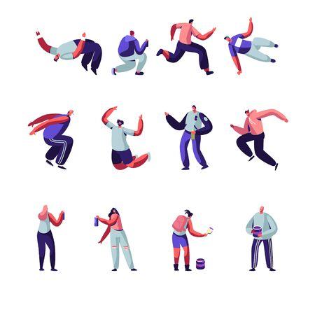 Conjunto de personajes de Parkour y Graffiti. Cultura de la ciudad de la juventud, estilo de vida urbano. Hombres saltando barreras, artistas callejeros adolescentes pintan graffiti en las paredes. Ilustración de Vector plano de dibujos animados de actividad al aire libre