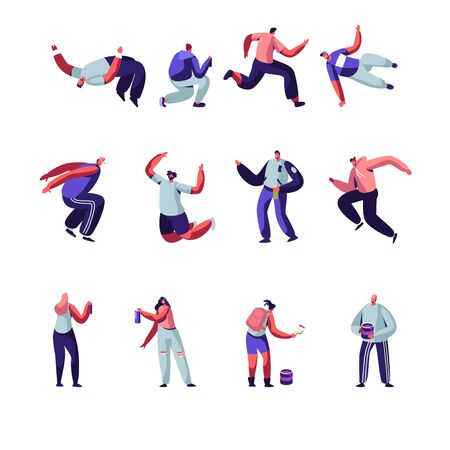 Parkour and Graffiti Characters Set. Youth City Culture, Urban Lifestyle. Men Jumping Over Barriers, Street Artist Teenagers Paint Graffiti on Walls. Outdoors Activity Cartoon Flat Vector Illustration