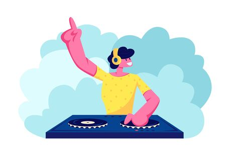 Happy Dj Male Character in Yellow Shirt with Headphones on Head Playing and Mixing Music at Night Club Disco Party. Fun, Youth, Entertainment and Fest Concept. Cartoon Cartoon Flat Vector Illustration