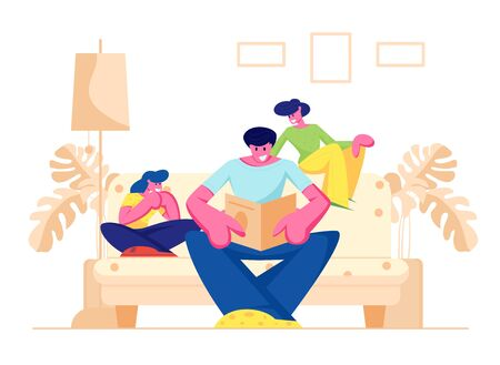 Happy Family Spending Time at Home Together, Parents with Kid, Father Reading Book, Mother and Daughter Sitting on Sofa and Listening Dad, Sparetime, Leisure, Hobby. Cartoon Flat Vector Illustration