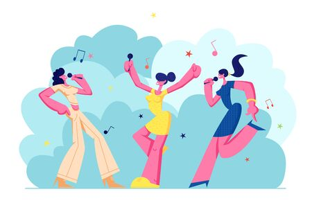 Excited Young Girls Company with Microphones Performing on Karaoke Party. Happy Female Characters Cheerfully Singing, Music, Happy Life Moments, Weekend Leisure Hobby. Cartoon Flat Vector Illustration