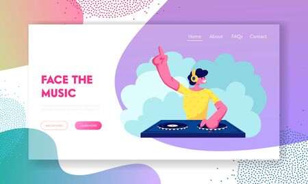 Happy Dj Male Character Playing and Mixing Music at Night Club Disco or Beach Party. Fun, Youth, Entertainment and Fest Concept Website Landing Page, Web Page. Cartoon Flat Vector Illustration, Banner Illustration