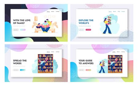 People in Library Landing Page Set, Characters Reading and Searching Books. Education, Knowledges, Information Research. Prepare for Exams Website, Web Page. Cartoon Flat Vector Illustration, Banner