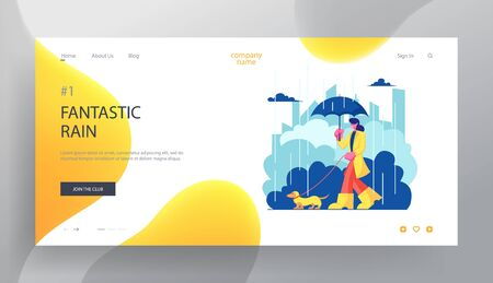 Woman Character in Cloak and Boots Walk with Dog at Rainy Weather , Girl Spend Time with Pet Outdoors. Relax, Leisure, Animals Website Landing Page, Web Page. Cartoon Flat Vector Illustration, Banner Ilustração