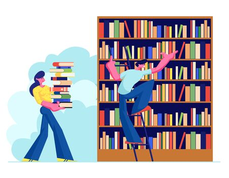 Woman and Man in Library Reading and Searching Books. Young People, Students, Spend Time in Athenaeum Room with Bookshelf and Ladder, Characters in Literature Storage. Cartoon Flat Vector Illustration