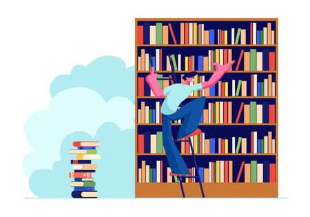 Young Man in Library Searching Books on Shelves Standing on Ladder. Student Prepare for Exam, Bookworm, Spend Time in Athenaeum Room, Characters in Literature Storage. Cartoon Flat Vector Illustration 向量圖像