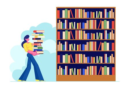 Woman Carry Big Heap of Book to Bookshelf in Public or Home Library Student Spend Time in Athenaeum or Archive Room with Bookcase, Character in Literature Storage. Cartoon Flat Vector Illustration 向量圖像