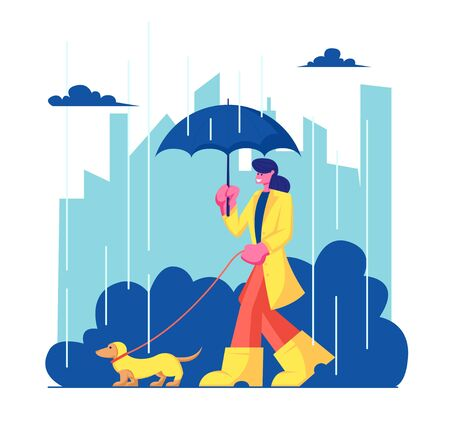 Woman Character in Cloak and Boots Walking with Dog at Rainy Weather in City Park. Girl Spending Time with Pet Outdoors. Relax, Leisure, Communication with Animal. Cartoon Flat Vector Illustration