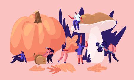 Personajes masculinos y femeninos felices pasan tiempo al aire libre en la temporada de otoño, recogen hojas amarillas caídas, hongos, bayas, cultivos de calabaza, bellotas. Actividad al aire libre de otoño. Ilustración de Vector plano de dibujos animados