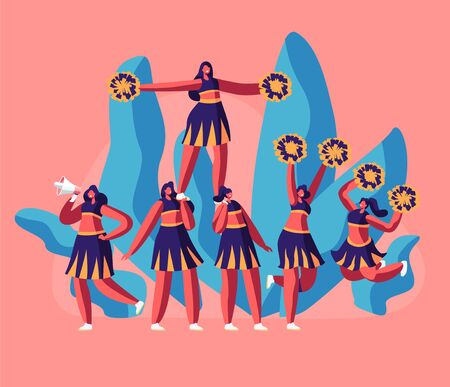 Cheerleaders Team in Uniform Making Pyramid on Football Stadium Event or Sports Competition. Student Girls Characters Performing Dance to Support Sportsmen in College. Cartoon Flat Vector Illustration Çizim