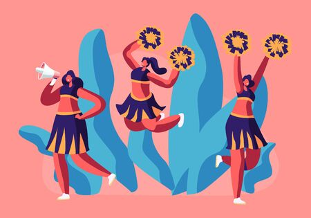 Cheerleaders Team in Uniform Dancing with Pompons Crying to Megaphone on Sport Event Competition Supporting Sportsmen. Student Girls Characters Performing on Stadium. Cartoon Flat Vector Illustration Illusztráció
