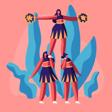 Cheerleaders Team in Uniform with Pompons in Hands Making Pyramid on College Sports Event or Competition. Student Girls Perform Dance to Support Sportsmen in College. Cartoon Flat Vector Illustration