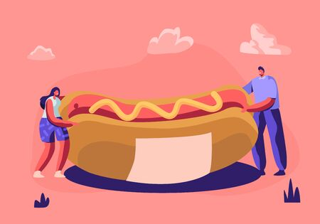 Tiny People Holding Huge Hot Dog with Yellow Mustard. Cute Miniature Scene of Cafe Workers or Visitors with Fast Food. Menu Design Elements, Fastfood Festival Event. Cartoon Flat Vector Illustration Illustration