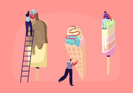Tiny Characters on Ladders Decorate Ice Cream with Topping and Chocolate. Summer Time Food, Delicious Sweet Dessert, Cold Treat. Different Types of Ice cream. Cartoon Flat Vector Illustration Illustration