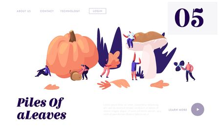 Happy People Spend Time Outdoors in Autumn Season, Pick Up Fallen Leaves, Mushrooms, Berries, Pumpkin, Acorns Fall Activity. Website Landing Page, Web Page. Cartoon Flat Vector Illustration, Banner