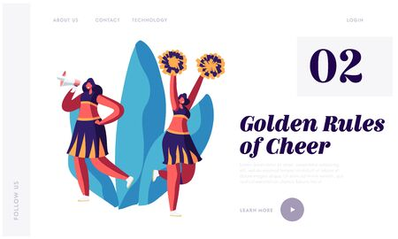 Student Girls in Cheerleaders Uniform Dancing with Pompons and Crying to Megaphone on Sport Event Competition Support Sportsmen Website Landing Page, Web Page. Cartoon Flat Vector Illustration, Banner