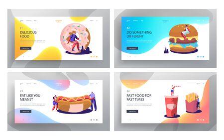 Fast Food Website Landing Page Set. Huge Burger, Hot Dog with Mustard, French Fries, Donut, Soda Drink. People Eating Junk Food in Street Cafe Web Page. Cartoon Flat Vector Illustration, Banner Illustration