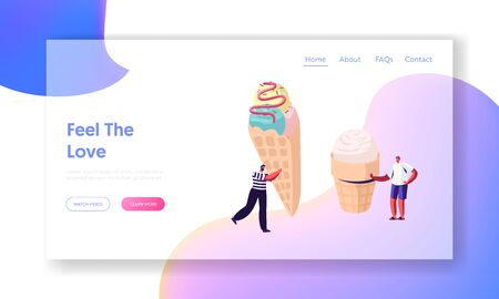 Tiny Characters with Huge Ice Cream in Waffle Cone Decorated with Sprinkle and Topping, Delicious Sweet Summer Dessert Website Landing Page, Treat Web Page. Cartoon Flat Vector Illustration, Banner