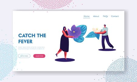Perfume Website Landing Page, Perfumer Characters Holding Ingredients for Creating New Perfume Composition Violet Flower and Lotus Blossom, Perfumery Web Page. Cartoon Flat Vector Illustration, Banner Illustration