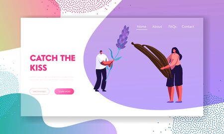 Perfumery Website Landing Page, Perfumers Hold Ingredients for New Perfume Composition Flower and Vanilla Sticks. Fragrance, Toilet Water, Perfumery. Web Page. Cartoon Flat Vector Illustration, Banner Illustration