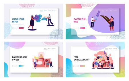 Perfume Website Landing Page Set, Perfumer Characters Create New Fragrance Put Ingredients to Sprayer Bottle with Toilet Water. Perfumery Composition Web Page. Cartoon Flat Vector Illustration, Banner