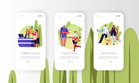 Eco Packing Mobile App Page Onboard Screen Set Concept for Website or Web Page, People Stand in Queue with Reusable Packaging in Hands, Characters Visit Open Air Store Cartoon Flat Vector Illustration