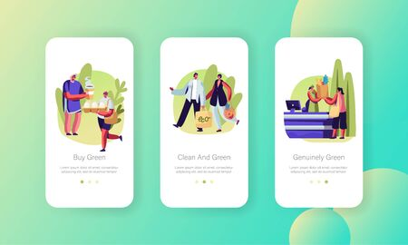 People Stand in Queue with Reusable Packaging, Male and Female Characters Use Eco Pack for Shopping Mobile App Page Onboard Screen Set Concept for Website or Web Page, Cartoon Flat Vector Illustration