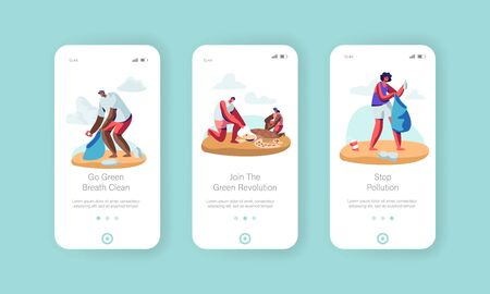 Volunteer People Cleaning Garbage on Beach Area and Saving Tortures Mobile App Page Onboard Screen Set , People Collect Trash on Coast Concept for Website or Web Page, Cartoon Flat Vector Illustration