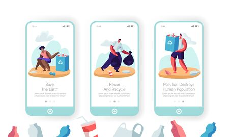 Environmental Pollution Problem Mobile App Page Onboard Screen Set, Multiracial Volunteers Pick Up Litter in Bags with Recycle Sign. Concept for Website or Web Page, Cartoon Flat Vector Illustration