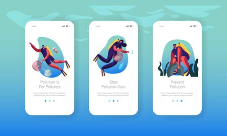 Divers Collecting Trash into Basket Underwater Mobile App Page Onboard Screen Set. Plastic Sea Pollution, Garbage, Ecology Protection Concept for Website or Web Page, Cartoon Flat Vector Illustration