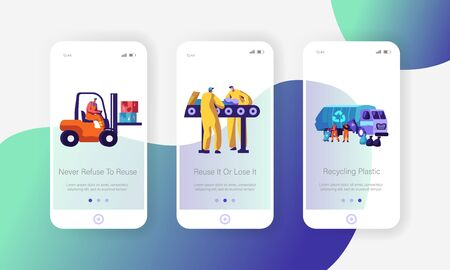 Garbage Recycling Eco Concept. Workers Collect Litter to Truck, Forklift. Metallurgy Factory Working Process Mobile App Page Onboard Screen Set for Website or Web Page Cartoon Flat Vector Illustration