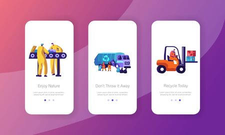 Eco, Garbage Recycling Concept for Website or Web Page, Metallurgy Factory Working Process, Workers Collecting Litter to Truck. Mobile App Page Onboard Screen Set Cartoon Flat Vector Illustration.