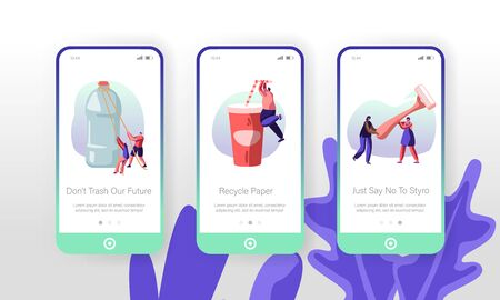 People Characters Using Plastic Things Concept for Website or Web Page. Water Bottle, Drink Cup, Shaving Machine, Products Consuming Mobile App Page Onboard Screen Set Cartoon Flat Vector Illustration
