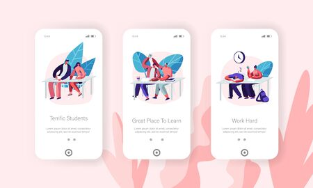 Students Visiting Lecture in University Concept for Website or Web Page. Characters Learning, Getting Higher Education, Knowledge. Mobile App Page Onboard Screen Set, Cartoon Flat Vector Illustration 向量圖像