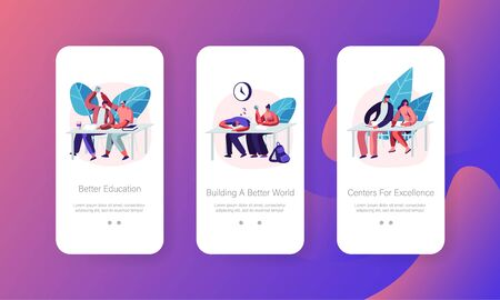 Higher Education Concept for Website or Web Page, Students Sitting at Desks Visiting Lecture in University, Characters Learning. Mobile App Page Onboard Screen Set Cartoon Flat Vector Illustration