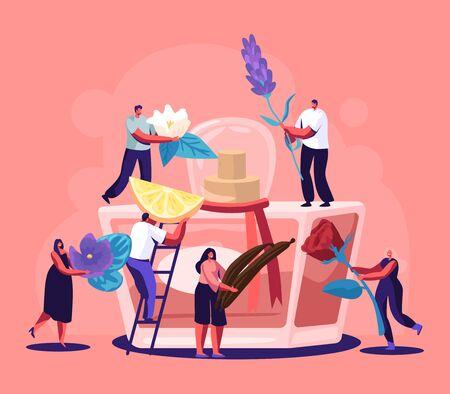 Mannelijke en vrouwelijke parfumeurkarakters creëren een nieuwe parfumgeur. Kleine mensen brengen ingrediënten naar een enorme spuitfles met toiletwater. Aroma Samenstelling. Parfumerie Cartoon platte vectorillustratie