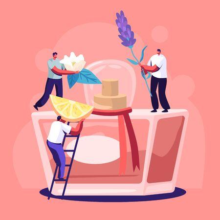 I personaggi di profumieri maschili e femminili creano una nuova fragranza di profumo. Piccole persone portano gli ingredienti in un enorme flacone spruzzatore con l'acqua del water. Composizione aromatica. Illustrazione di vettore piatto del fumetto di profumeria