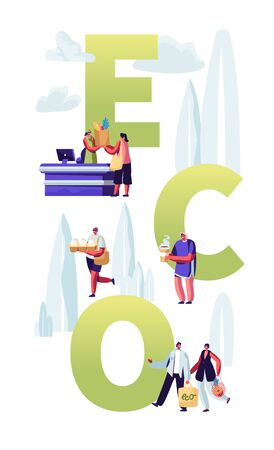 Eco Packing Concept, People Stand in Queue with Reusable Packaging in Hands Visiting Open Air Store. Male Female Characters Shopping, Poster, Banner, Flyer, Brochure. Cartoon Flat Vector Illustration