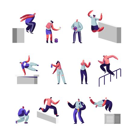 Teenagers Making Parkour Tricks and Paint Graffiti on Street Set. Young Men Jumping Over Walls and Barriers, Urban Culture, Active Lifestyle, Sport Outdoors Activity. Cartoon Flat Vector Illustration