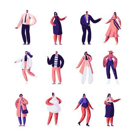 Set di modelli e stilisti di moda. Abbigliamento Haute Couture e Sfilata. Ragazze che dimostrano abbigliamento alla moda stand in crudo sulla scena o in passerella, evento di sfilata di moda. Cartoon piatto Vecotr illustrazione